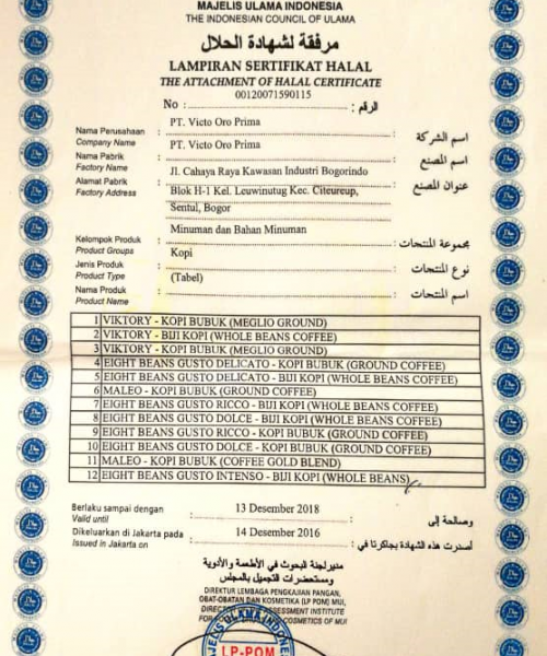 Koyo Coffee Halal Certifications
